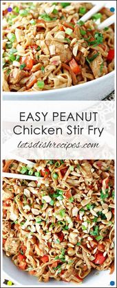 Easy Peanut Chicken Stir Fry: Rice Noodles, Chicken And Vegetables Are Tossed In…