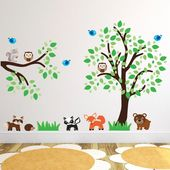 Tree With Woodland Animals and Branch Wall Stickers, Woodland Wall Decals, Tree Wall Art Transfers –