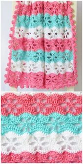 Baby Blanket Twinkling Stars Blanket. Fast and Easy Summer Crocheted Baby Blankets Free Patte...