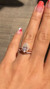 Moissanite Vintage Floral Bridal Ring Set by La More Design