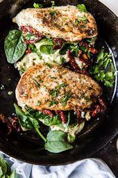 Gefüllte Hähnchenbrust mit Spinat, Käse und getrockneten Tomaten  – healthy-dinner-recipes