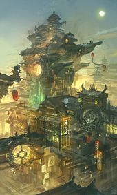 """Chinatown night view concept by bigballgao """"Chinatown painted with traditional oriental elements and future technology elements"""""""