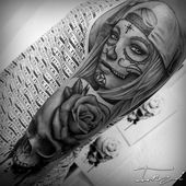 Bild Bild zur Zeichnung von Catrina zum Tätowieren – Luciano Milani   – Tattoo Frauen Unterarm