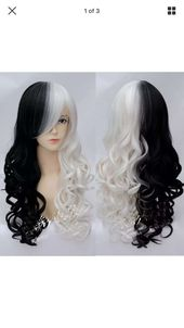 Cruella DeVille // Black and White Full Synthetic Wig