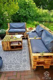 ❏ Build and buy pallet furniture yourself  – Garten Terrasse Einrichten Möbel