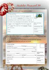 Holiday Postcard 50 Holiday Postcards English Writing Education English