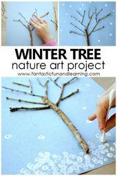 Winterbaumkunst für Kinder. Naturkunstprojekt für Vorschule und Kindergarten #Win