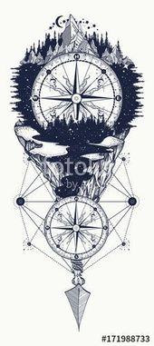 Wektor: Outdoor Tattoo und T-Shirt Design. Berge und antike Kompass-Tätowierung… – Tätowierun…