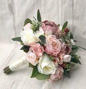 Hochzeitsstrauß, Dusty Rose Brautstrauß, Blush Hochzeitsstrauß, Pfingstrosenstrauß, Mauve / Dusty Rose Hochzeitsblumen, Silk Brautstrauß