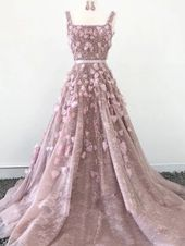 with Straps Aline Hand-Made Evening Dresses Flower Beaded Long Sparkly Prom Dresses,PD3721 – prom