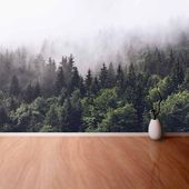 Mountain Foggy Forest Canvas Photo Wallpaper Wallcovering Forested Mountain Slope In Low Lying Cloud with The Evergreen Custom  – Creative
