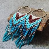 Seed pearl earring, Native American style, boho earring, tribal earring, fringe earrings models