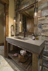 Powder room: like the rustic feel. Would use wood …