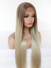 Blonde Wigs Long Natural Straight Hair U Part Lace Wig Synthetic Lace Wig Heat Resistant Fiber Hair With Dark Roots