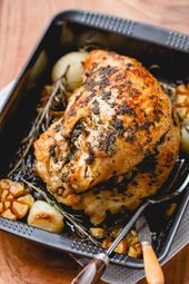 Roasted Turkey Breast with Garlic Herb Butter