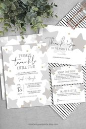 PRINTABLE Twinkle Twinkle Little Star Baby Shower Invitation Pack INSTANT DOWNLOAD // Neutral