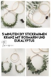 DIY embroidery wreath with rosemary and eucalyptus #kranz #deko   – Art,Crafts,Sewing,DIY