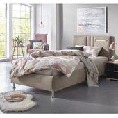 Upholstered bed linen look blue slatted base 180 x 200 cm Sennez BelianiBeliani