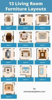 13 Beispiele für die Anordnung von Wohnmöbeln (Grundrissabbildungen)