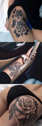 Realistische Black Rose Flower Floral Oberschenkel Bein Arm Handgelenk Bum Tattoo-Ideen für Frauen bei MyBodiArt.com #AwesomeTattoos #TattooIdeasFlower #TattooIdeasForW …