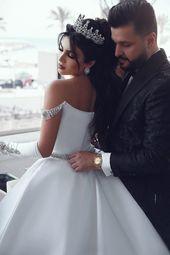 Ballkleid Satin Brautkleider Mit Perlen, Mode Nach Maß Brautkleider, Plus Size Brautkleid BDS0683