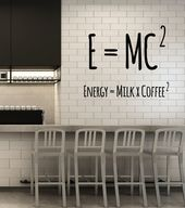 Vinyl Wall Decal Coffee Lover Physical Formula Funny Cafe Art Decor Stickers Mur…
