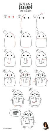 #Doodle #drawing ideas step by step #Zeichnen Drawing Doodle        Drawing Doodle Wie zeichnet man ein Pinguin. Einfaches Zeichnen, Schritt für Schr…
