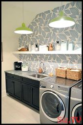 A gorgeous wallpaper in the laundry room makes the space a pretty place to be in…