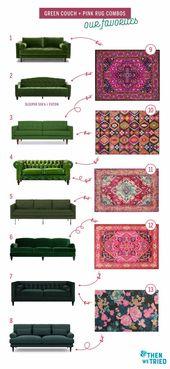 Farbenfrohes Wohnzimmer erfrischen: grüne Couch und rosa Teppich