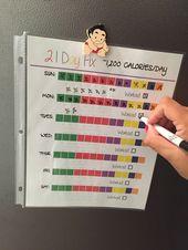 21 Day Fix ~ Quick Food Tracker ~ 1200-1499 Calorie Bracket