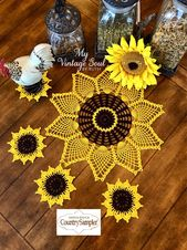 Items similar to Sunflower Doily and Coasters Set – Flower Doilies – Coffee Table Doilies – Rustic Doilies – Backyard Wedding – Crochet Lace Doily on Etsy