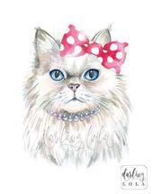 Cat Watercolor Print – Persian Cat – Princess Cat – Cat Art – Hipster – Animal Art – Nursery Art – Cat Painting – Tiere Tubes & Wallpapers