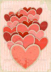 Retro Valentine S Day Card With Hearts Card Day Hearts Retro