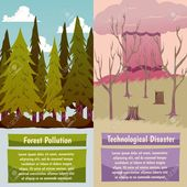Man-made disasters 2 vertical orthogonal banners set with forest pollution and technological hazard isolated vector illustration , #spon, #orthogonal,…