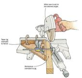 finewoodworkingmagazineTapers on the Miter Saw⠀ by Rob Cairns, Nevada City, CA The short tapers on the bottom of legs are awkward to cut with a tapering jig on the tablesaw, which is designed for lo… – Today Pin
