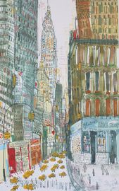 CHRYSLER BUILDING New York City Art, Glaser Bake Shop NYC Manhattan Taxi, New York Watercolor Painting, Signed Limited Edition Giclee Print   – Artista: Clare Caulfield