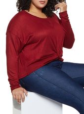 Plus Size Twist Front Sweater – Burgundy – Size 1X