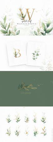 Gold leaf watercolor alphabet art by Skyla Design on Creative Market | A stunnin…