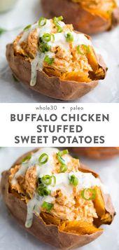 Saludables y cremosas batatas rellenas de pollo de búfalo con aderezo ranch (Whole30, Paleo   – healthy-dinner-recipes