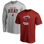 Men S Miami Heat Fanatics Branded Red Gray Square Up Combo T Shirt