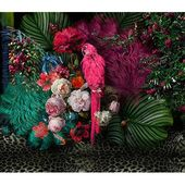 Bay Isle Home Maren Floral Colorful Peony Flower and Parrot Textile Texture Wall Mural | Wayfair