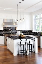 black and white kitchen, shaker cabinets, shaker k…