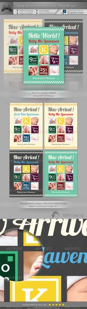 [ Baby Announcement Card  New Arrival] includes: 57 in   0.25in Bleed300DPI CMYK…