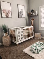 Baby Blanket gender neutral boho safari jungle nursery with giraffe plush and elephant baby b...