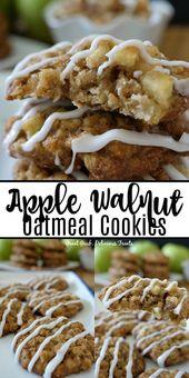 Apple Walnut Oatmeal Cookies sind köstlich weiche und zähe Kekse mit …