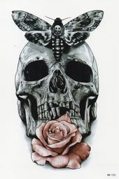 Skull Rose Flower Multi Colored Butterfly Temporary Temporary One Time Tattoo 10.5x21cm HB123 by OneWeekTattoos on Etsy