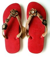 Havaianas Flip Flops Beach Sandals Red Embellished Leather Flowers Buttons #Hava…