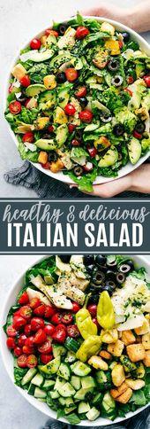 Ensalada italiana con un saludable aderezo lleno de hierbas. # ensalada # verde # ensalada # fácil #h …   – Recipes