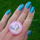 Pastel Pink Iridescent Glitter White Unicorn Statement Ring, Big Resin Dome Ring, Magical Fantasy Kawaii Unicorn Glitter Fusion Party Ring
