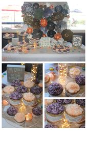 Mini Rosette cupcakes for a bridal shower with vintage lace wrappers by Kaylin J…